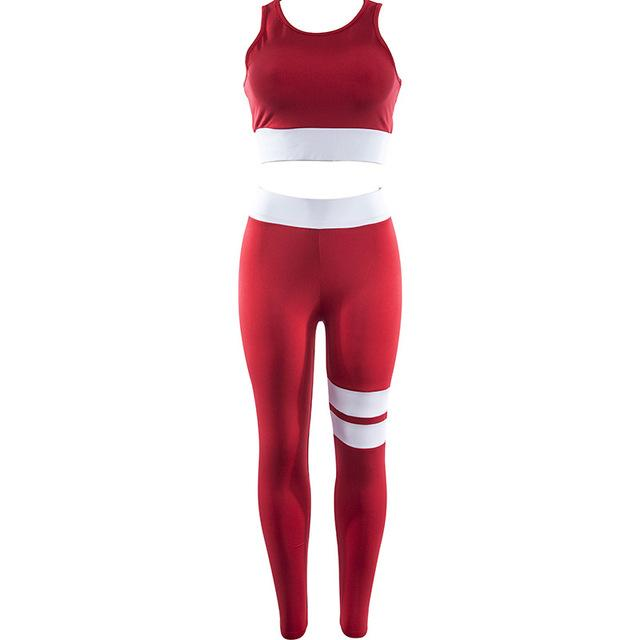 Women Tracksuit Solid Yoga Set Patchwork Running Fitness Jogging T-shirt Leggings Sports Suit Gym Sportswear Workout Clothes S-L - Cadeau Me