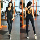 Women Yoga Set Black Sport Jumpsuits V Neck Sleeveless Trousers Fitness Suit Yoga Jumpsuit Fitness Set Sport Wear Gym Tights
