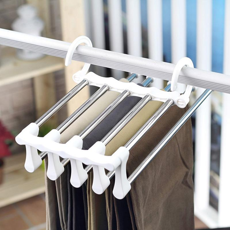Wonderlife Multi-function Pants Hangers Telescopic Stainless Steel Hangable Anti-wrinkle Double Hook Cabinet For SortingClothing