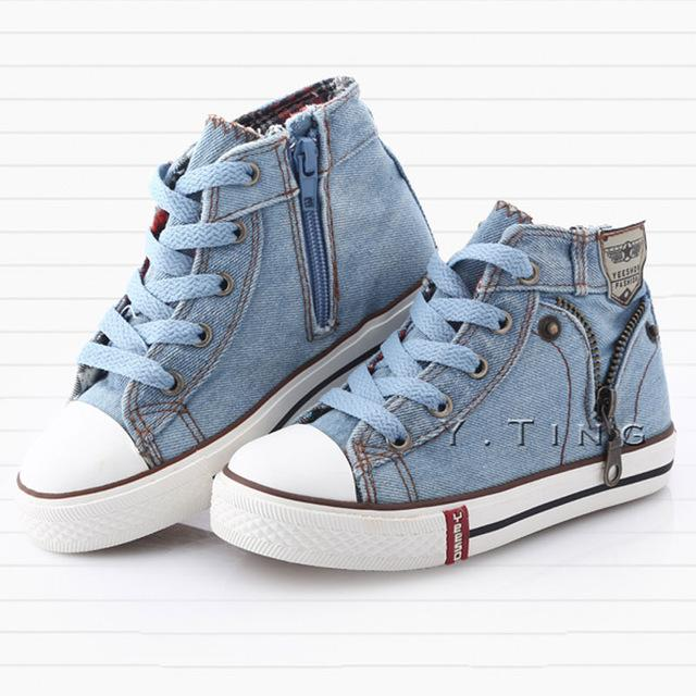 Children Sneakers Kids Canvas Shoes for Girls Boys denim jeans Kids Boots High-top Girls Sneakers Boys Shoes Size25~37 CSH245 - Cadeau Me