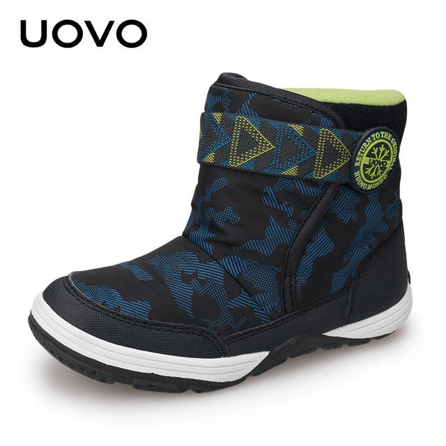 UOVO 2017 New Kids Winter Boots Warm Velvet Lining Comfortable Kids Shoes Fashionable Boys and Girls Boots for Eur size 24-36# - Cadeau Me