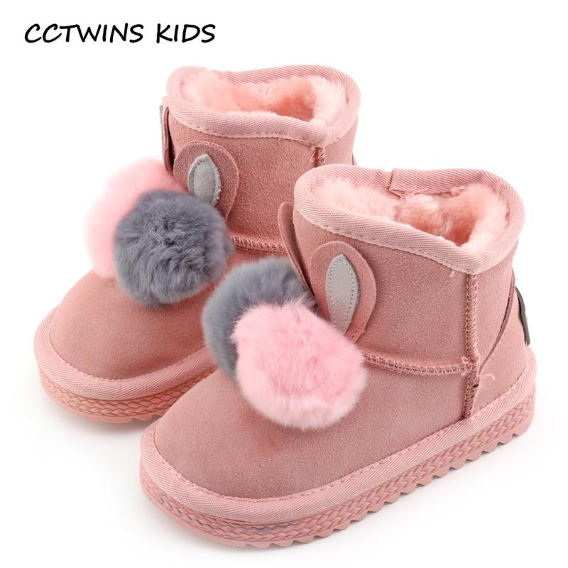 CCTWINS KIDS 2017 Girl Fashion Bunny Warm Flat Children Genuine Leather Gray Shoe Baby Boy Black Snow Boot Toddler CS1431 - Cadeau Me