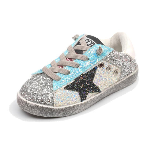 Spring Autumn Fashion Star Children Shoes Shining Sequins Girls Boys Canvas Shoes Kids Casual Sneakers Gold Silver Pink Blue - Cadeau Me