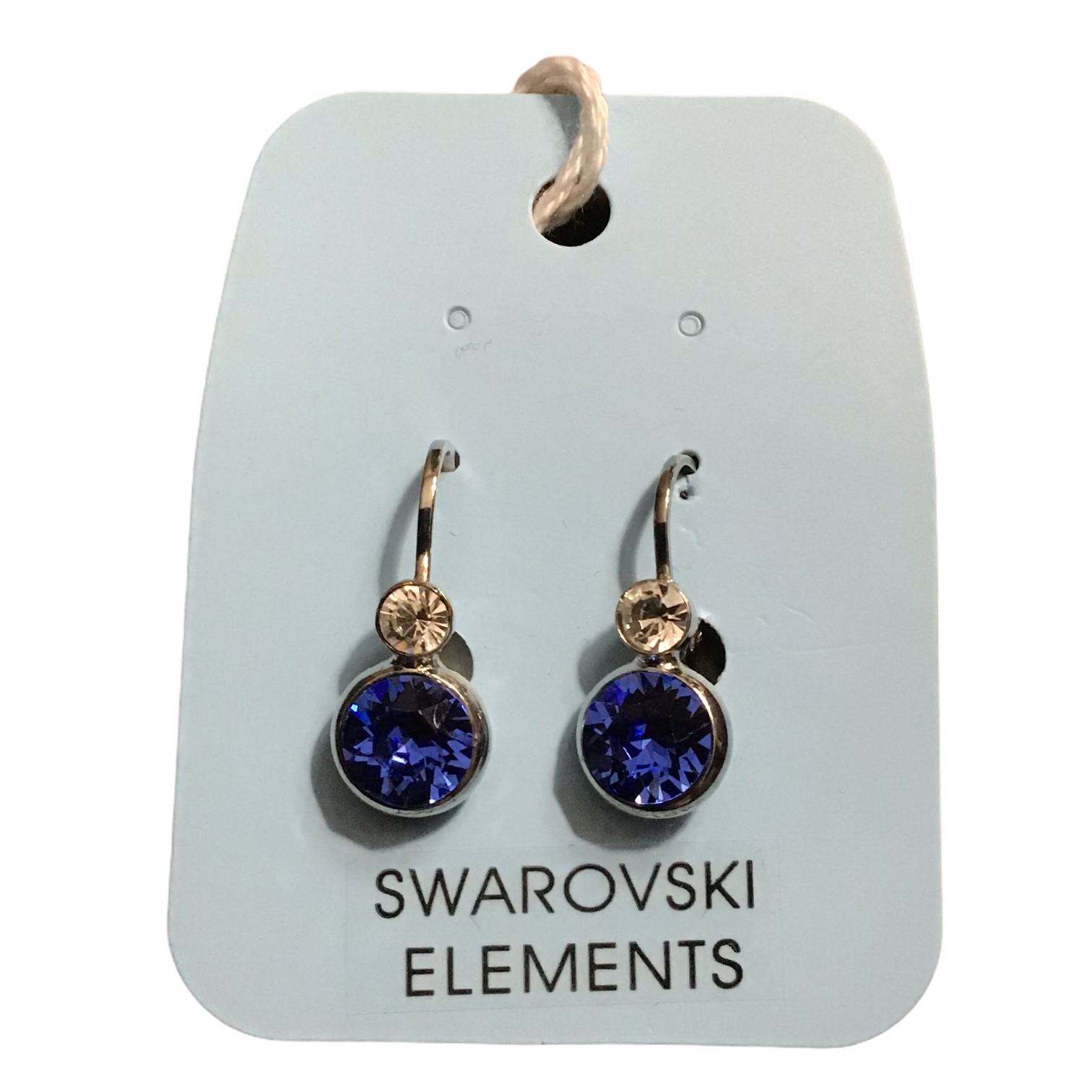 Swarovski 2 stone Sapphire/clear earrings