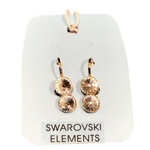 Swarovski 2 stone earrings