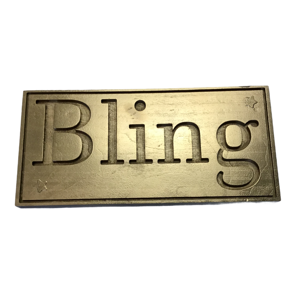 Bling gold painted wood sign