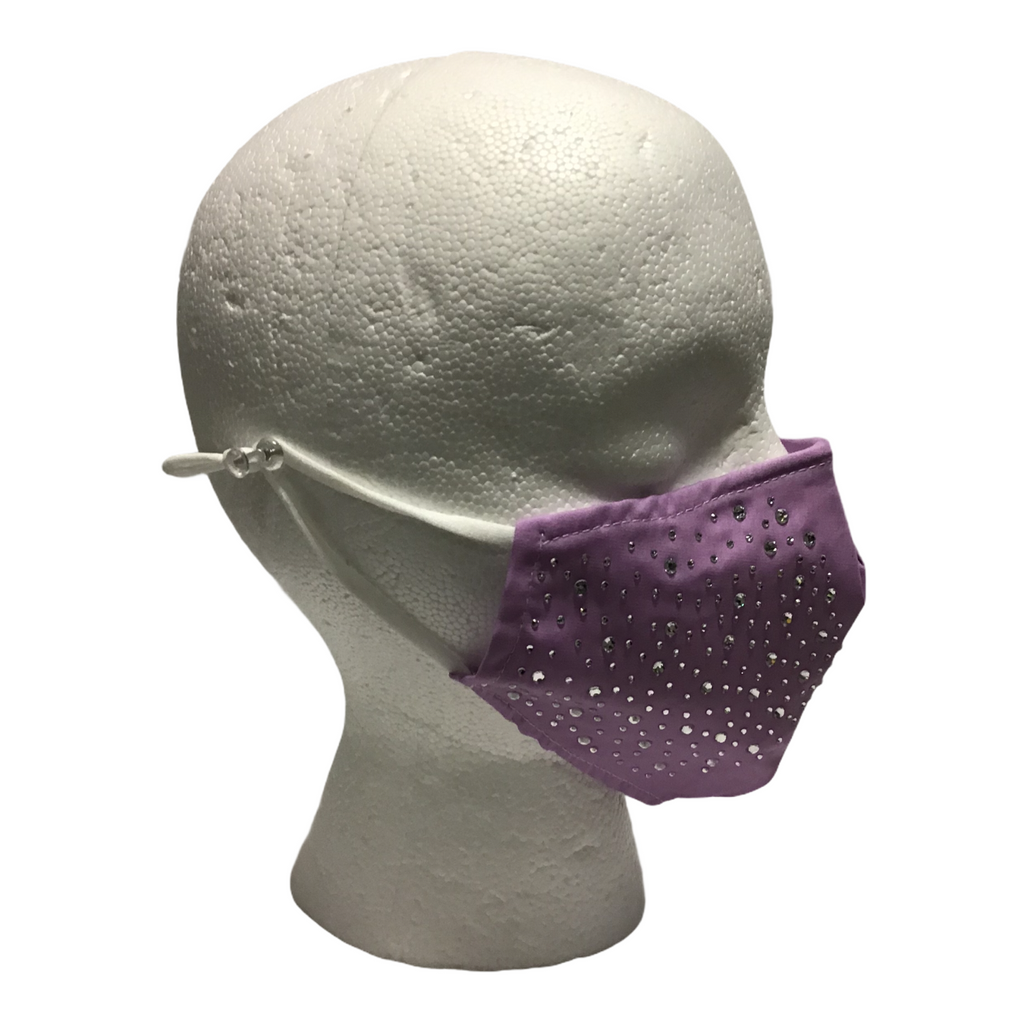Lilac Face Mask with crystal embellishments