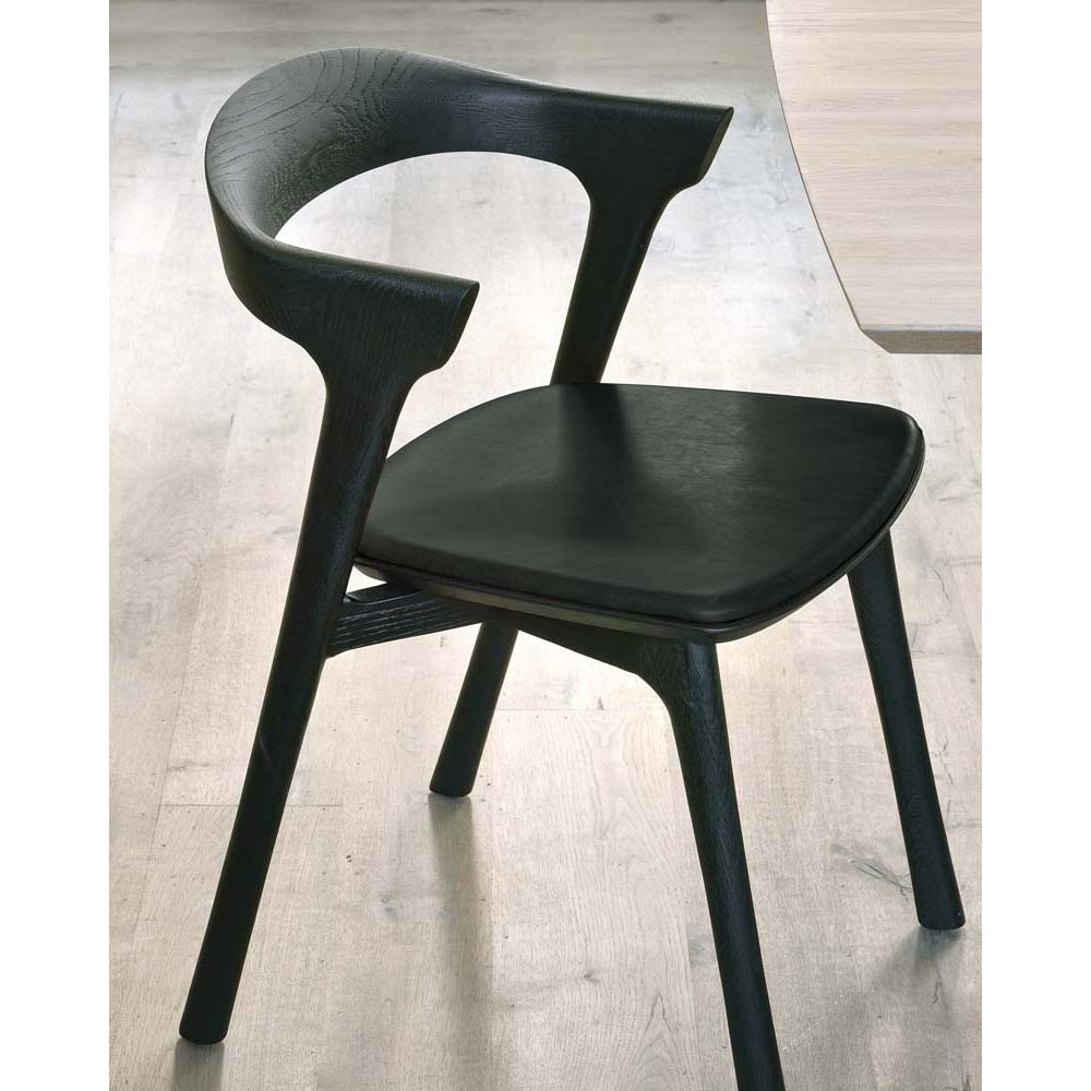 Oak Bok Black Dining Chair - Upholstered Seat