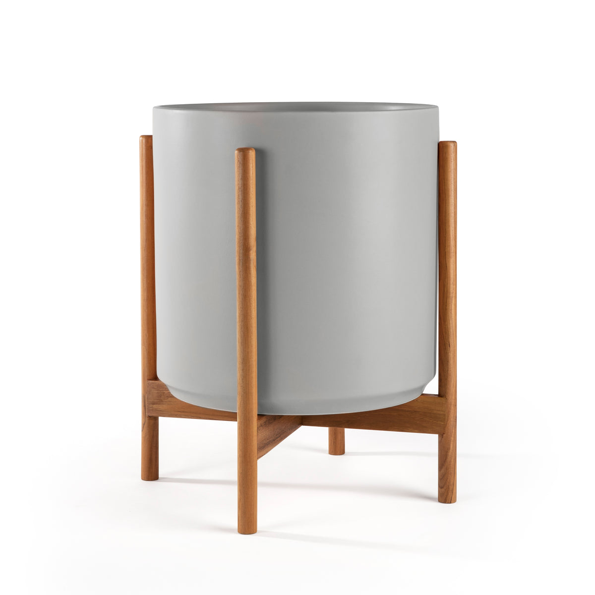 Cylinder Planter with Teak Stand 14""