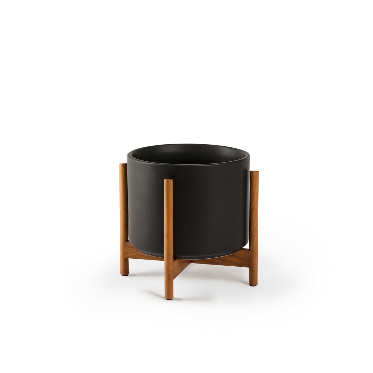 Cylinder Planter with Teak Stand 8""