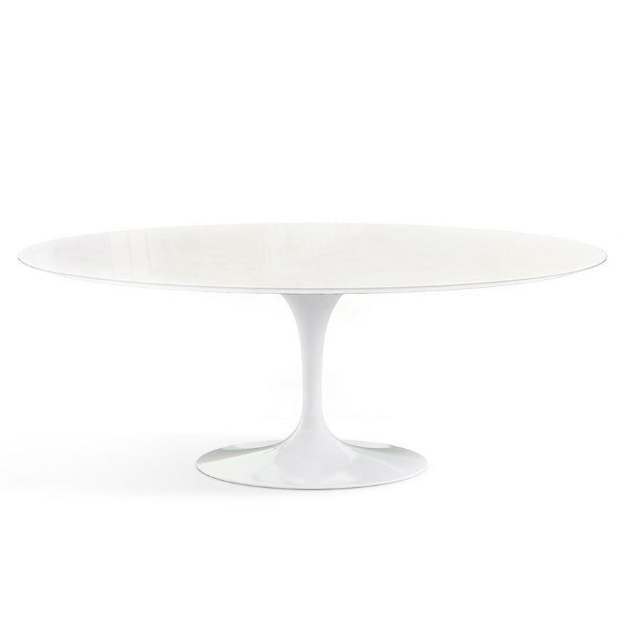 "Saarinen Outdoor 78"" Oval Dining Table Vetro Bianco Top"