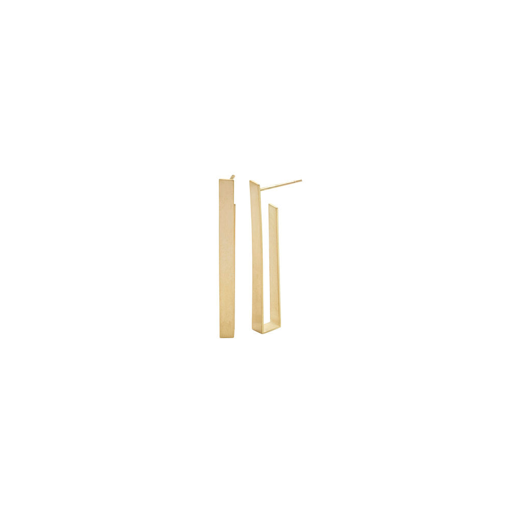 Short Sculptural Rectangle Earring - 18k Gold
