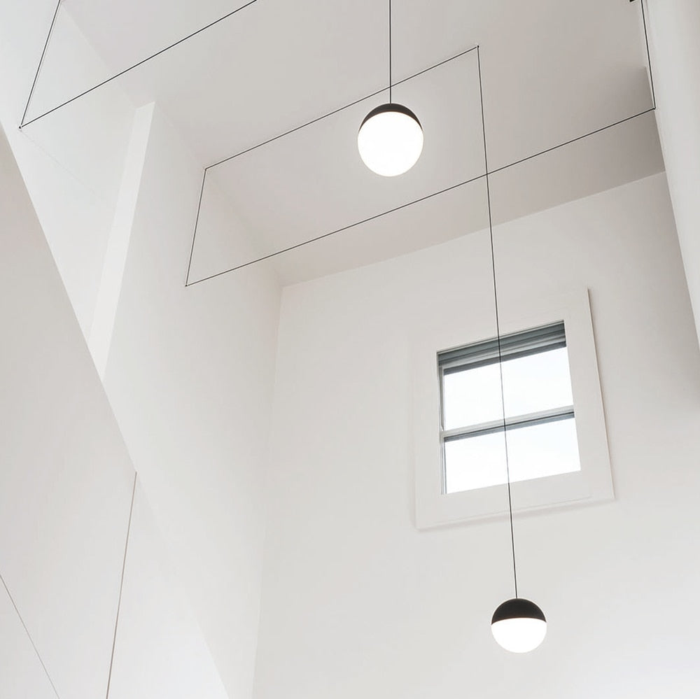 String Lights Round Pendant Light in Black