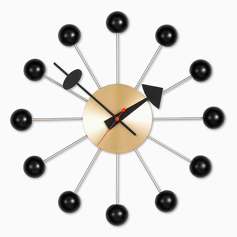nelson ball clock black - brass