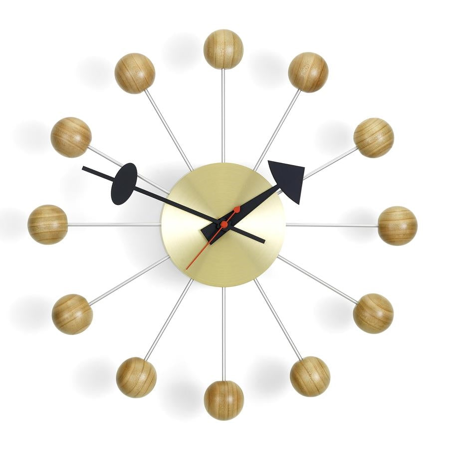 nelson ball clock natural cherry - brass