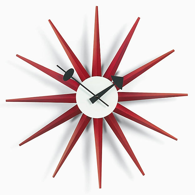 nelson sunburst clock red