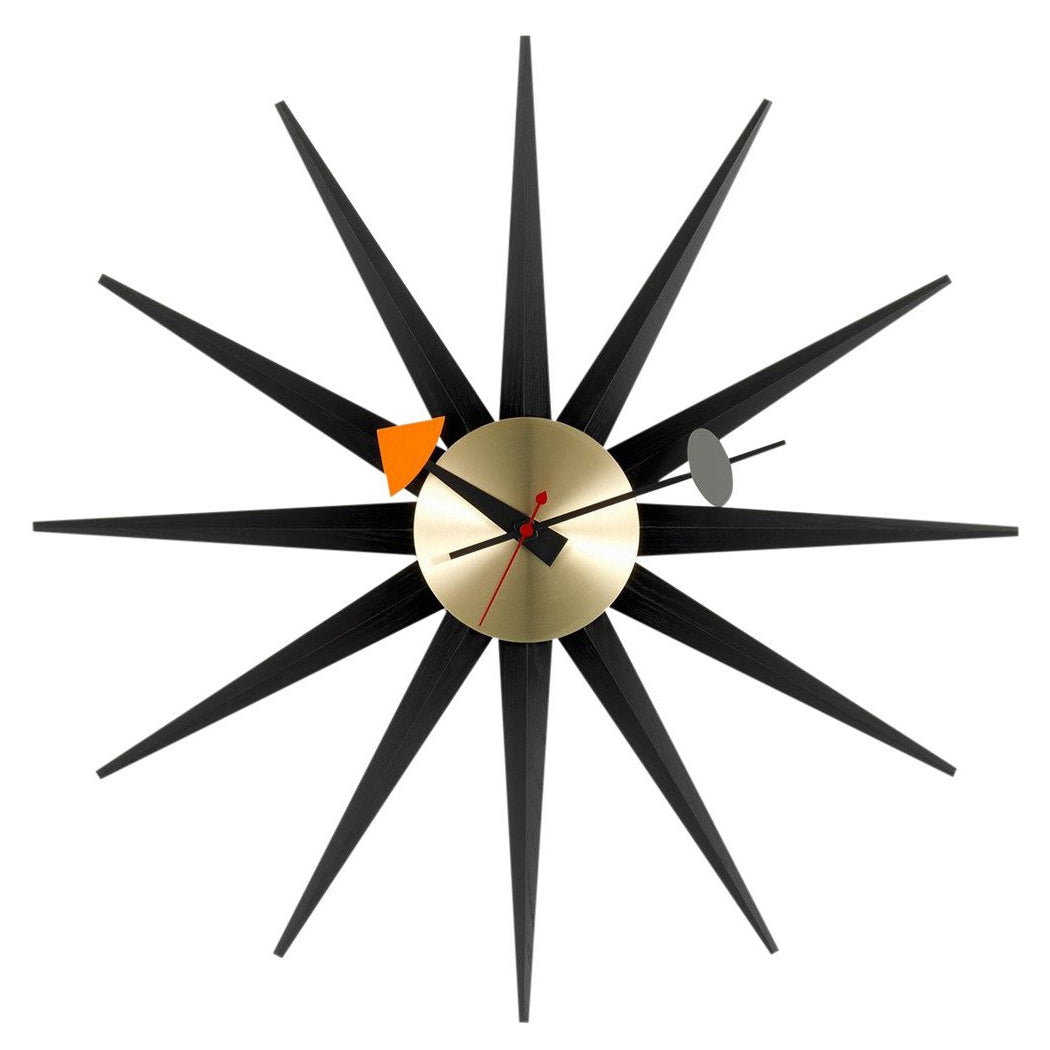 nelson sunburst clock black - brass