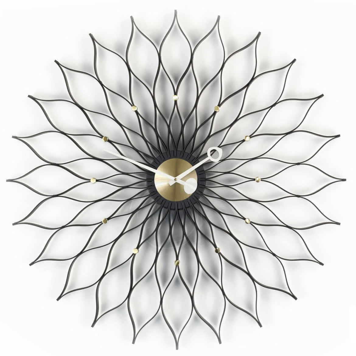 nelson sunflower clock black ash - brass