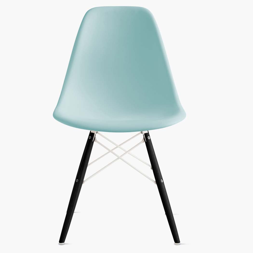 Eames Molded Plastic Side Chair - Dowel Base - Aqua Sky Shell