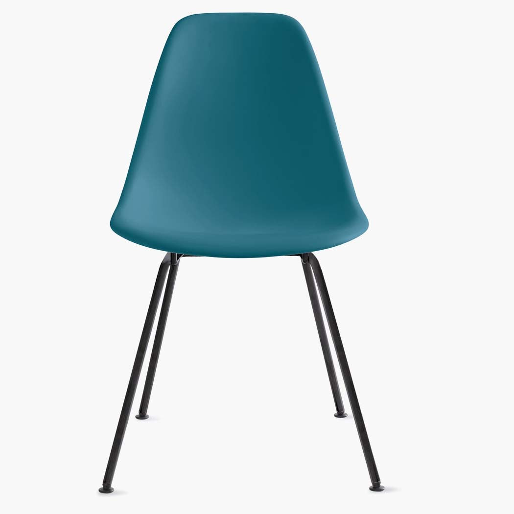 Eames Molded Plastic Side Chair - 4 Leg Base - Peacock Blue Shell
