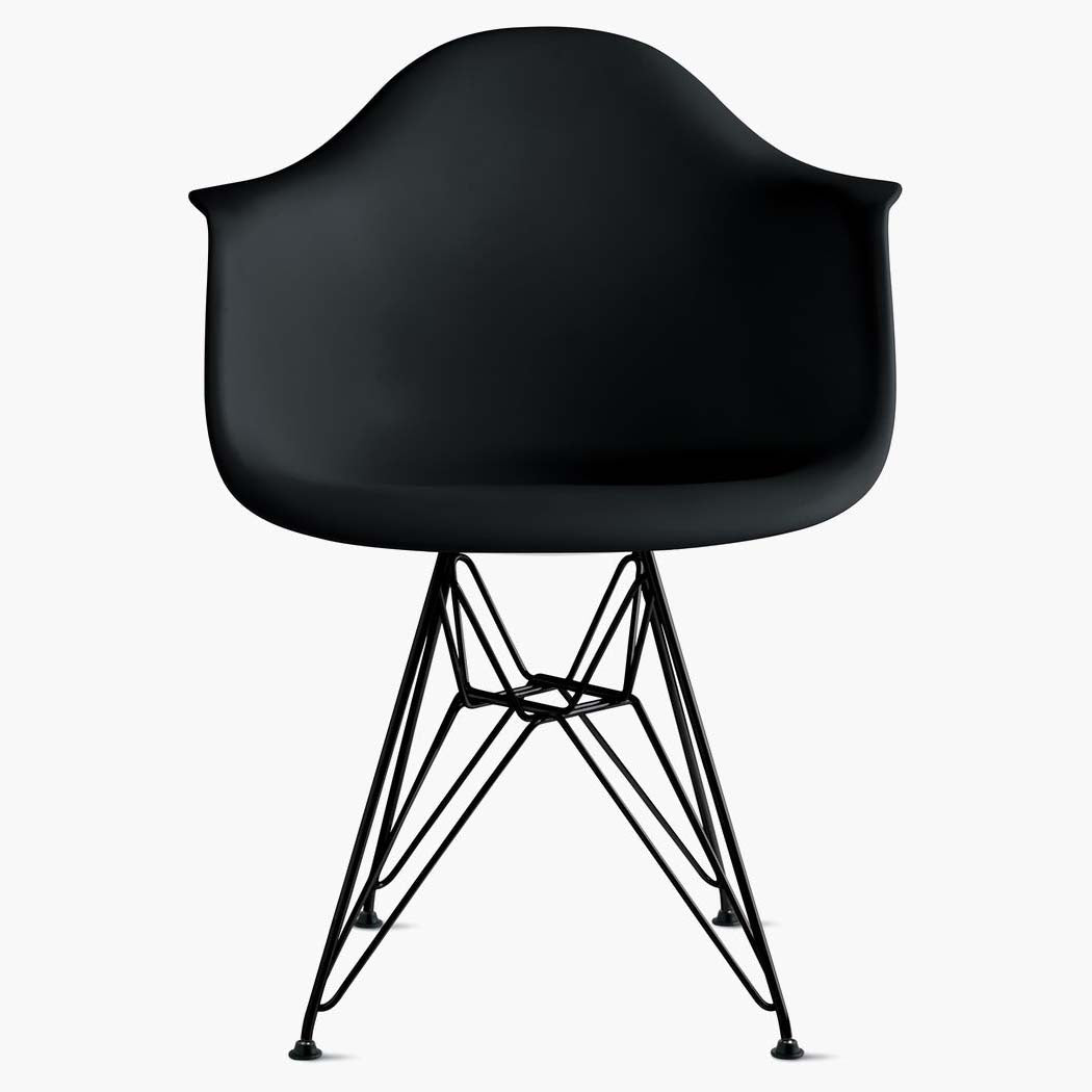 Eames Molded Plastic Armchair - Wire Base - Black Shell