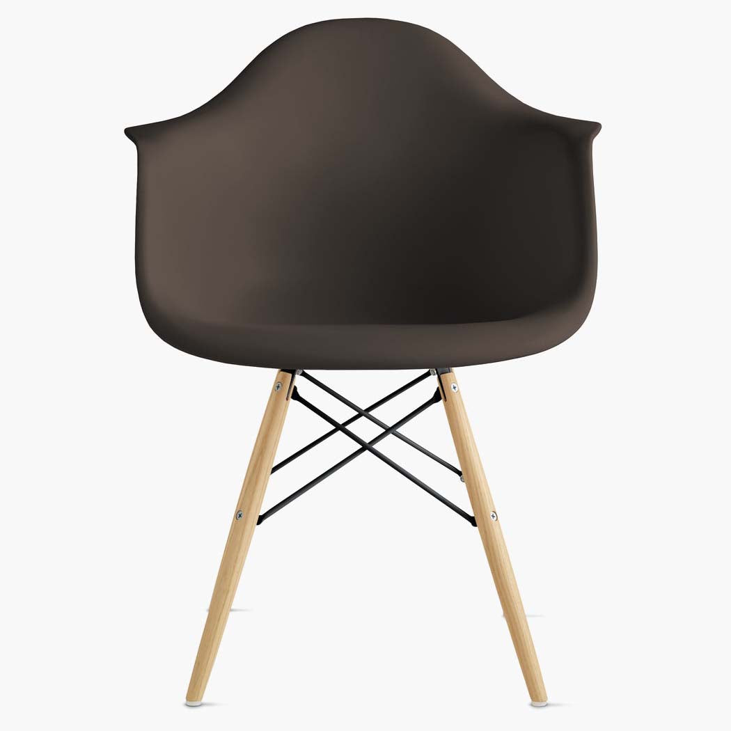 Eames Molded Plastic Armchair - Dowel Base - Java Shell