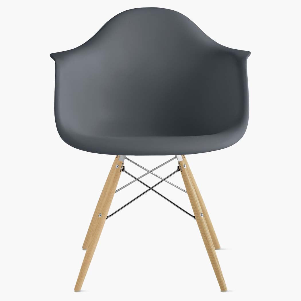 Eames Molded Plastic Armchair - Dowel Base - Charcoal Shell