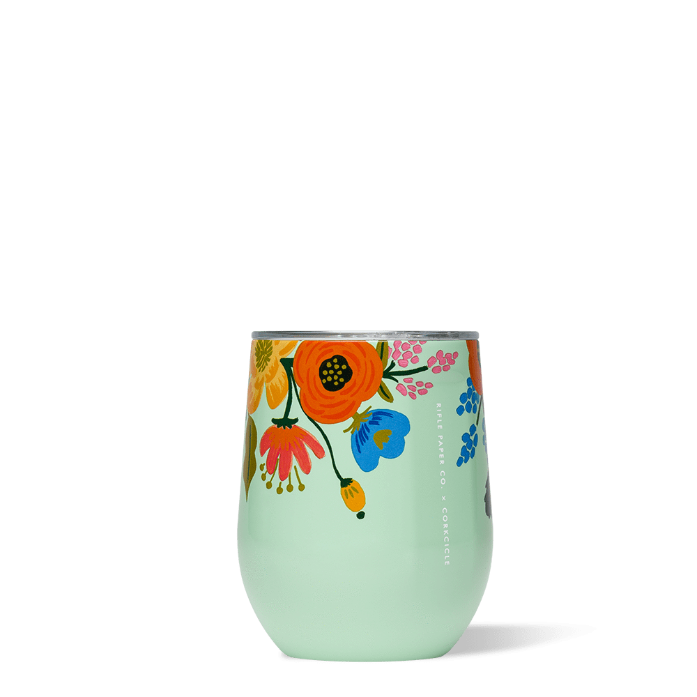 Rifle Paper Stemless Wine Glass Floral Mint