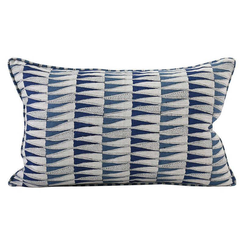 "Tangier Denim Linen Lumbar Pillow - 14"" x 22"""