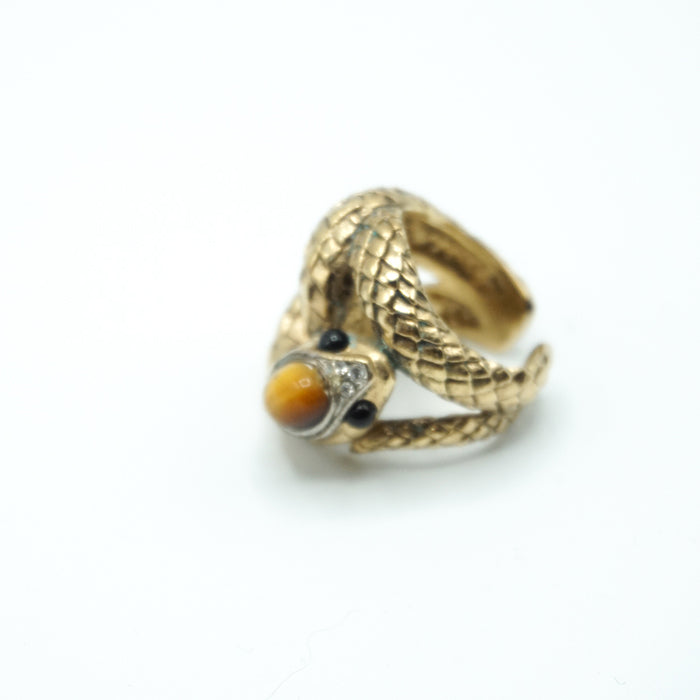 ROBERTO CAVALLI Gold-plated tiger's eye snake ring