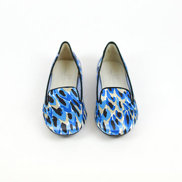 CHARLES PHILIP SHANGHAI Printed Satin Round-Toe Loafers