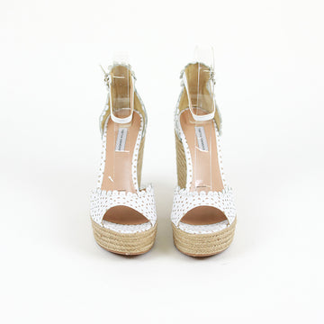 TABITHA SIMMONS Harp Perforated Scalloped Leather Wedge Sandals