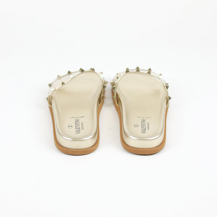 VALENTINO Clear PVC Rockstud Pool Slide