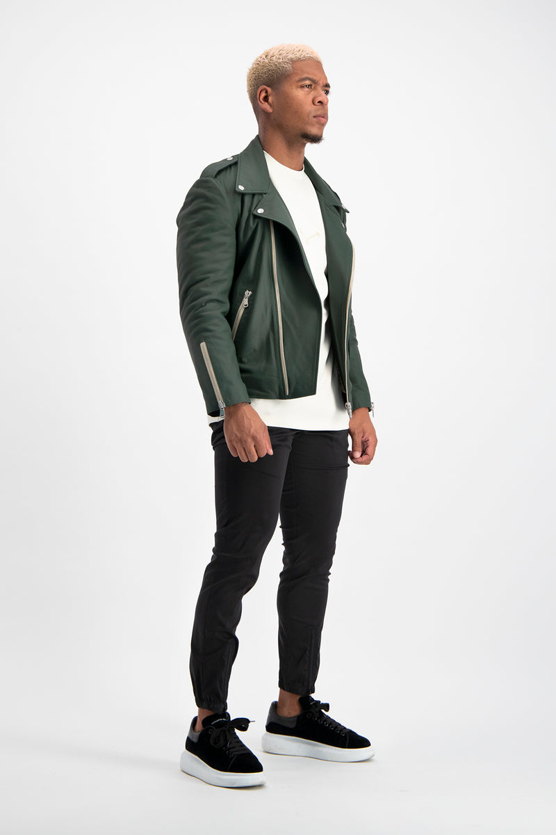 Green Leather Biker