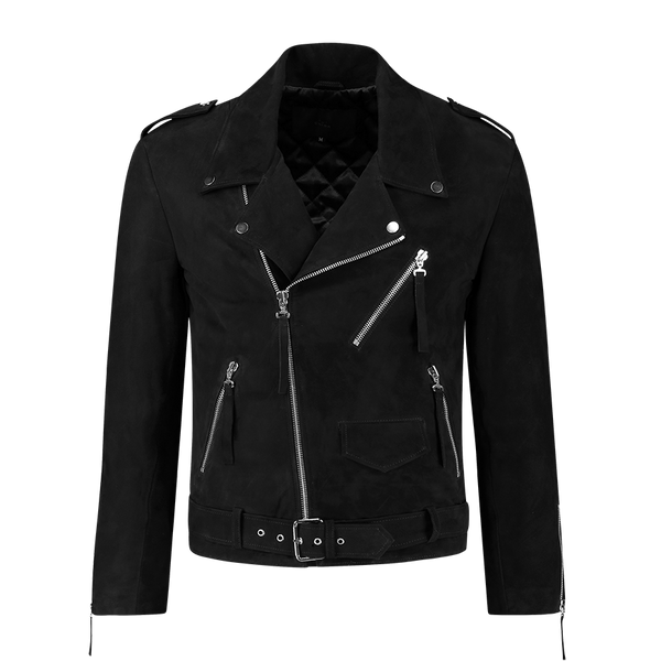 Suede Biker Jacket Black