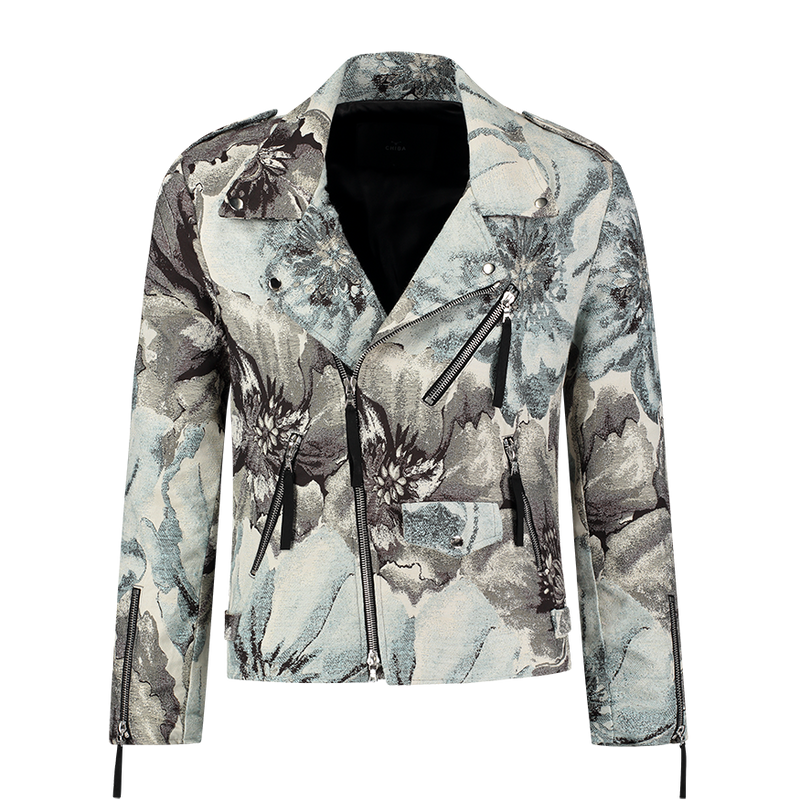 Floral Biker Jacket Ice Blue