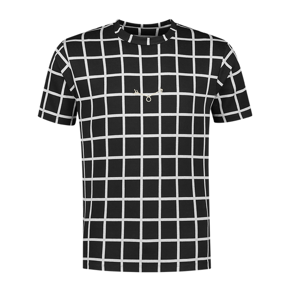 Black Checkered grey Stripe T-shirt