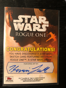 Darth Vader Topps Sketch Card, Signed by Spencer Wilding