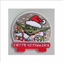 Load image into Gallery viewer, Baby Yoda Santa Patch and 2 Stickers
