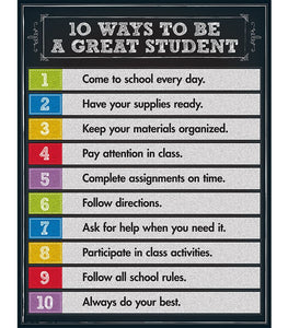10 Ways to be a Great Student Chart - Supplies by Teachers