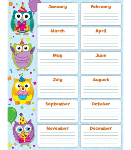 Colorful Owl Birthday Chart