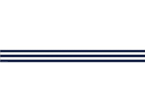 Navy Blue and White Stripes Straight Border Trim