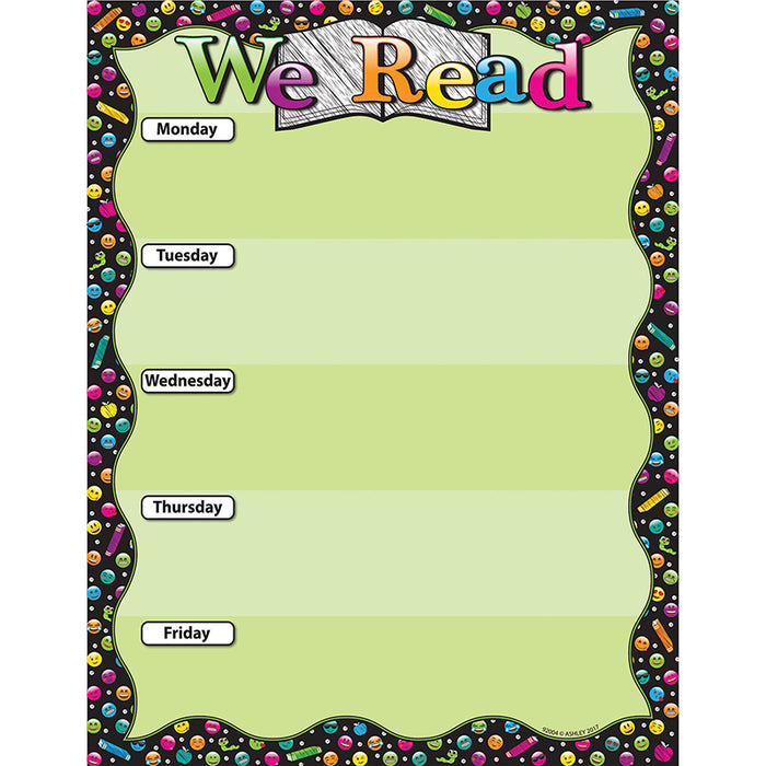 We Read Emoji 17x22 Smart Poly Cht - Supplies by Teachers