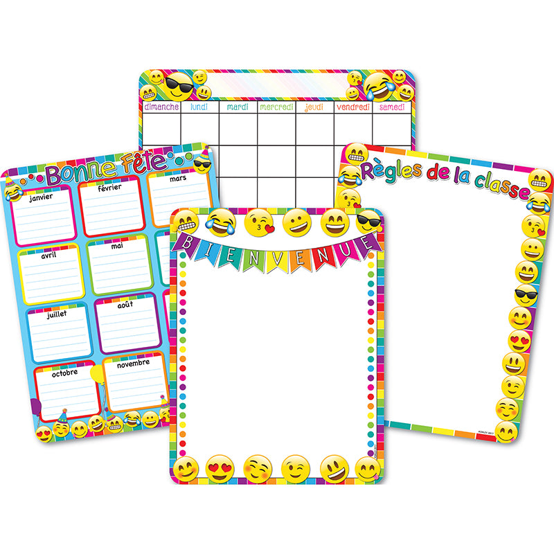 French Asst 4pk Dry Erase Gl 45 Smart Chart Surface 17x22 - Supplies by Teachers