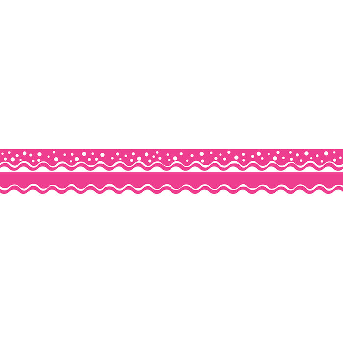 Happy Hot Pink Border Double-Sided Scalloped Edge