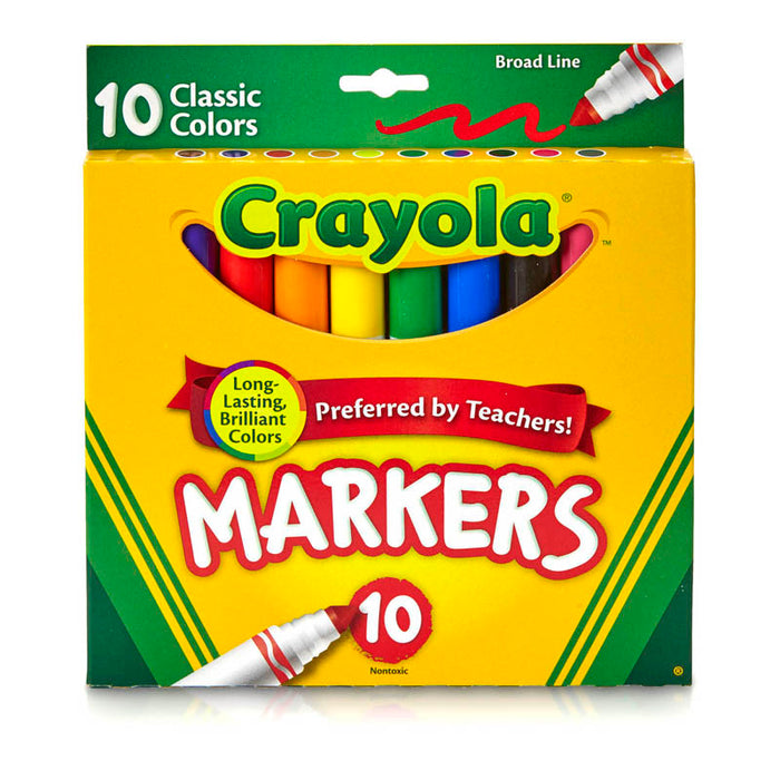 Crayola Taklon Watercolor 10ct Brush Classic Broad Line Markers - Supplies by Teachers