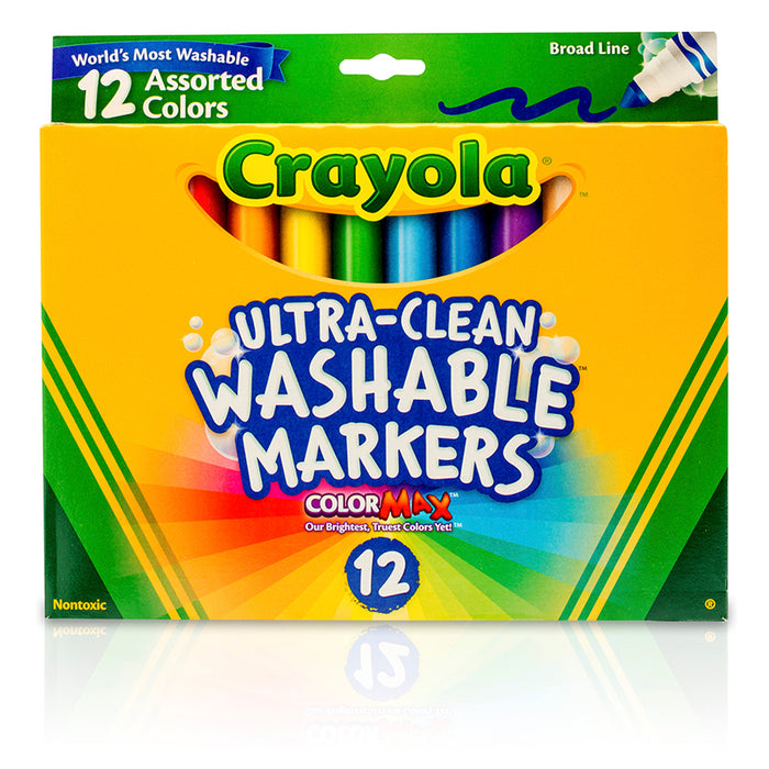 Crayola Washable Markers 12ct Asst Colors Conical Tip - Supplies by Teachers
