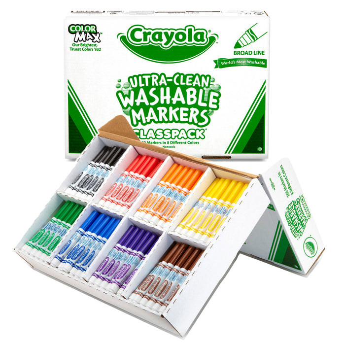 Crayola Washable Markers Classpack 200ct 8 Colors Conical Tip - Supplies by Teachers