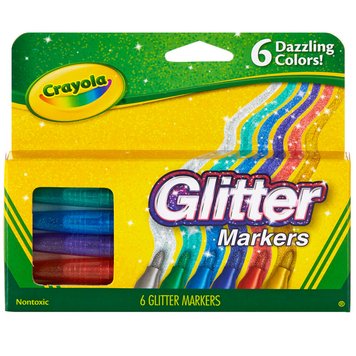 Crayola Glitter Markers 6 Colors - Supplies by Teachers