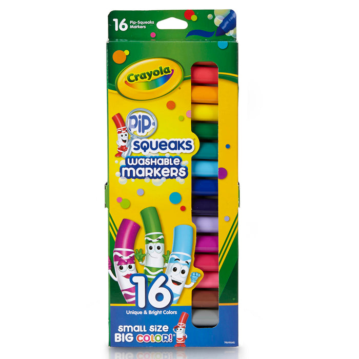 Pip Squeaks Markers 16 Ct Short Washable In Peggable Pouch - Supplies by Teachers